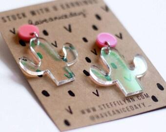 STUCK WITH U- Iridescent Cactus Earrings