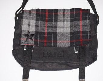 upcycling military shoulder bag tartan bag shoulder bag shoulder bag fabric fabric vintage 70 s