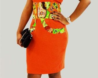 beautiful dress evening in orange satin in African fabric
