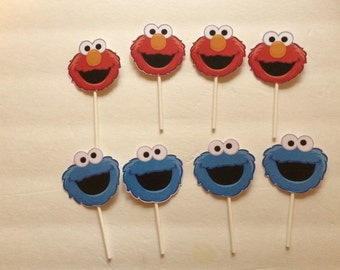 Elmo and/or Cookie Monster Cup Cake Toppers (12)