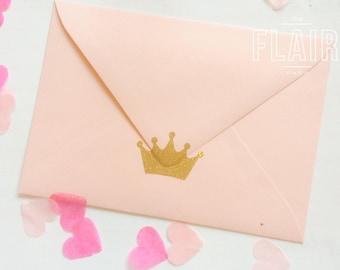 Gold Glitter Gemstone Crown Envelope Seals / Stickers, Vinyl, Wall Decal, Princess, Prince