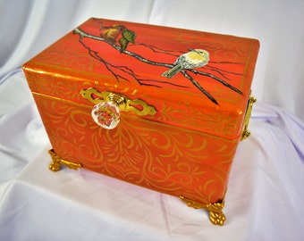 CORAL MURAL CHEST with Hand Painted Birds, Brass Handles and Gold Whimsical Accents