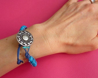 Wrap Bracelet with leather and glass beads