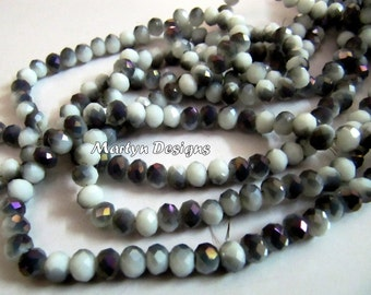 AAA Quality Dendrite Opal Color Hydro Quartz 6mm Size Beads , Mystic Coated Two tone Rondelle Faceted Beads , approx. 100 Beads per Strand.