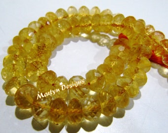 "Top and Finest Quality Natural Citrine Beads , 6 to 8mm Size Rondelle Faceted Yellow Citrine Beads , Strand 10"" long, Far Size Citrine Beads"