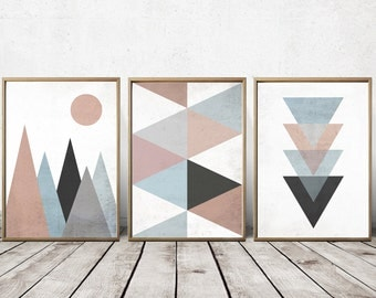 Wall Art Prints - Abstract Art Prints - Geometric Decor- Abstract Wall Art - Abstract Art Print - Nordic Art - Triangle Art