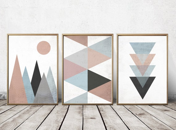 Wall art prints abstract art prints geometric decor Painting geometric patterns on walls