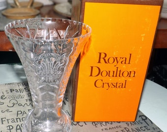 Vintage (c.1981) Royal Doulton / Webb Corbett Lead Crystal vase. Limited edition to commemorate the Wedding of Prince Charles to Lady Diana.