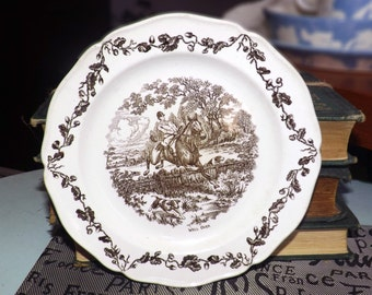 Vintage (c.1934), RARE! Wedgwood brown transferware bread-and-butter | tea plate.  Horse and rider, dog, landscape, wording Well Over.