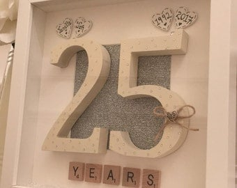 Personalised 25th Wedding Anniversary/ scrabble art picture frame/