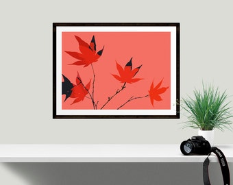 Peach and orange fox leaf print abstract design, Perfect for gallery wall displays, kitchens and bedrooms, Modern style art for nature lover