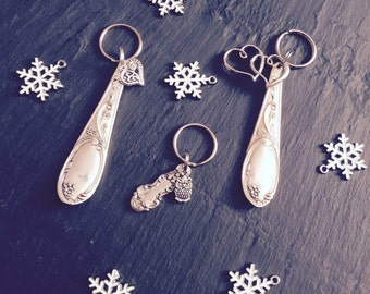 Handmade Vintage Spoon Keyring & Heart Charm - Unique Vintage Gift - Handmade by MariLouImpressions - Silverware - Rustic Keyring
