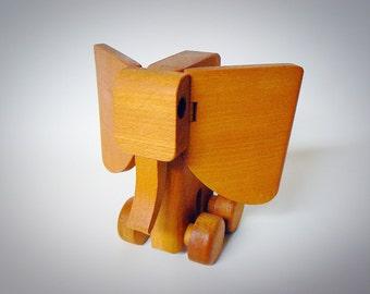 Mid Century Vintage Modern Wooden Scandinavian Elephant Figurine