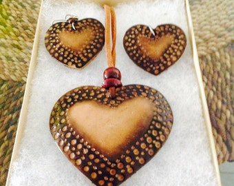 Beautiful Carved Wood Heart Necklace & Earring Set