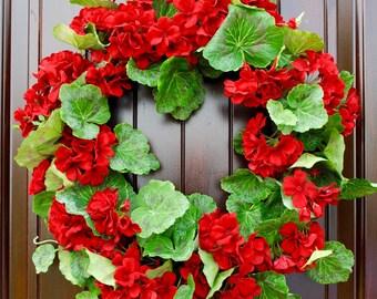 Geranium wreath~spring wreath~summer wreath~front door wreath~wreaths for front door~red geranium wreath~welcome wreath~door wreath