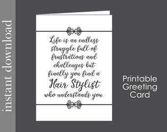 Hair Stylist Card, printable card, stylist gift, beautician card, hairdresser card, card for stylist, hair salon gift, stylist download