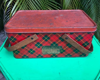 Vintage Tartan Plaid Metal Box with Handles