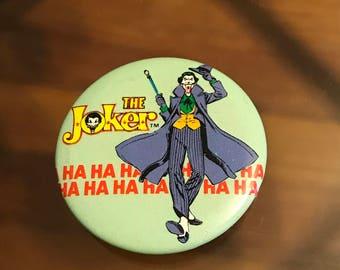 """Vintage 1983 Joker 1.5"""" Pinback Button """"Ha Ha Ha"""" - Neal Adams - Batman - DC comics"""