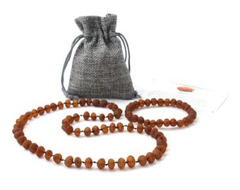 Amber Jewelry Set for Adults, Raw Cognac Necklace and Bracelet Set, Made from Unpolished Baroque Shape Baltic Amber Beads
