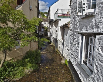 Polperro, Stream Outside Cottages. Photo Digital Download. 50cm x 75cm.