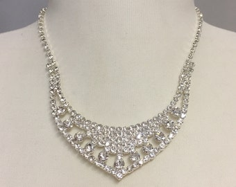 Rhinestone Bridal Necklace Set, Wedding Necklace for Bride, Bridesmaid jewelry, Bridesmaid Gift, Prom Jewelry 750-20174