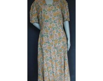 Vintage 1930s/30s Cotton Floral Pocket Day DRESS Summer Antique