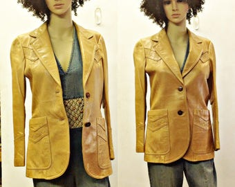 VIntage hippie FItted tan leather blazer,Jacket,coat,boho,cowgirl,western