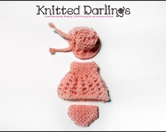 "Handmade knitted 3 piece set for mini baby 4,5""- 5"" by Knitted Darlings #43"