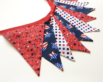 Red White and Blue Banner, Patriotic Decor, Fabric Flag Bunting, 4th July Bunting, Stars and Stripes, Flag Banner, Nessa Foye
