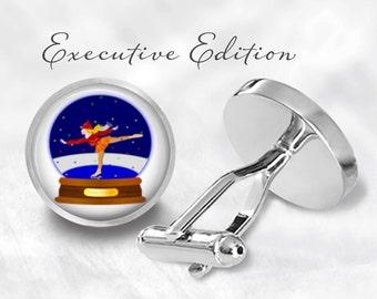 Ice Skater Snow Globe Cufflinks - Snow Globe Cuff Links - Snowglobe Cufflink (Pair) Lifetime Guarantee (S0513)