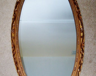 Oval Gold-tone Wood Framed Mirror,  36 X 19
