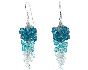 Blue Swarovski Crystal Ombré Cluster Earrings