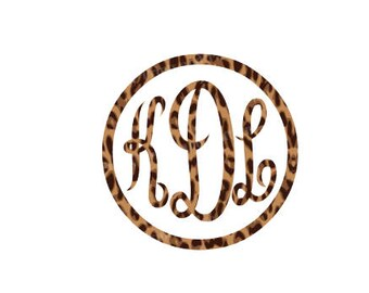 Leopard Print Circle Elegance Monogram Decal, Framed Circle Monogram, Traditional Leopard Cheetah Print, Animal Print Monogram, Car Monogram