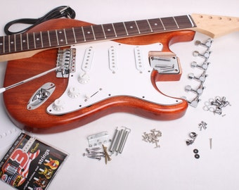 Build Your Own Electric Guitar Kit - Strat Kit - Finished with Wudtone Hot Auburn