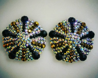 Crystal AB, Black and Gold Rhinestone Pasties