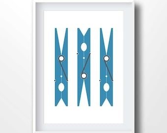 Laundry Room Art Print, Laundry Wall Art, Laundry Decor, Modern Home Decor, Navy Blue and White, Clothespin navy, clothespins print, 2059