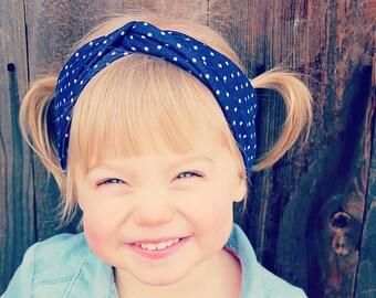 Navy Polka Dot Turban Headband, Adult Headband, Baby Headwrap, Toddler Headwrap, Baby Turban, Adult Headband, Turban