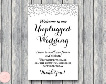 Silver Unplugged Wedding Sign, Unplugged Ceremony Sign, Printable Wedding Sign, Printable sign, Wedding decoration sign TH63