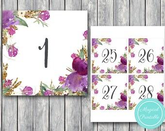 Purple Floral Wedding Table Numbers Printable, DIY Table Number Sign, Wedding Table Numbers - Digital File, DIY Print TH59  TN21