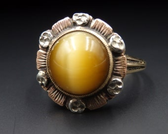 Vintage tiger  eye tri-colored gold cabochon ring size 6
