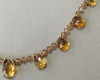 Beautiful Golden Topaz Faceted Briolet Crystal Necklace