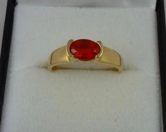 14 ct yellow gold fire opal ring - 0.4ct weight