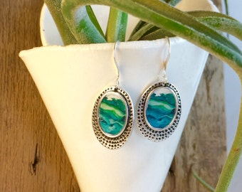 Silver & Green Earrings- Green Earrings- Geode Jewelry- Silver Dangles- Dangle Earrings- Boho Chic Drop Earrings