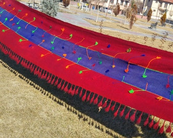 Antique 1930-1940s Long Tent Strap 3x17ft Natural Dyes Tribal Folk-Art Turkey