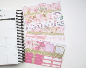 March Gilded Pink Monthly View Planner Stickers for Erin Condren Life Planner (K25G)