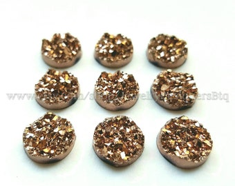 12mm Rose Gold Druzy Cabochons Faux Druzy Bronze Cabochon Resin Embellishment Jewelry Supplies Earring Findings Cameo Settings Kawaii Supply