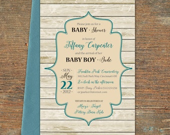 Wood Plank Boy Baby Shower Invitation, Customizable, Printable