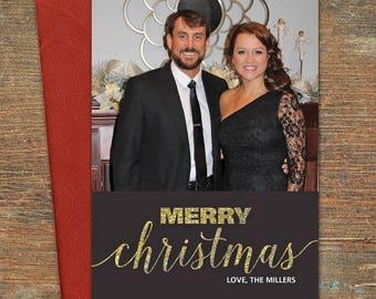 Merry Christmas Greeting Card, Customizable, Printable