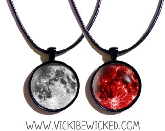 Blood Red Moon, Full Moon Pendant Necklace