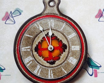 1970s, Fat Lava, German, Emes, Ceramic, Quartz, Kitchen Wall Clock